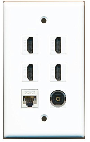 RiteAV - 4 HDMI and 1 - Ethernet Cat5e and 1 - Toslink Port Wall Plate White
