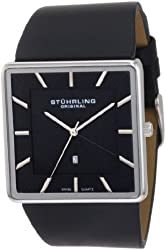 Stuhrling Original Men's 342.33151 Classic Ascot Saratoga Quartz Ultra Slim Black Leather Strap Watch