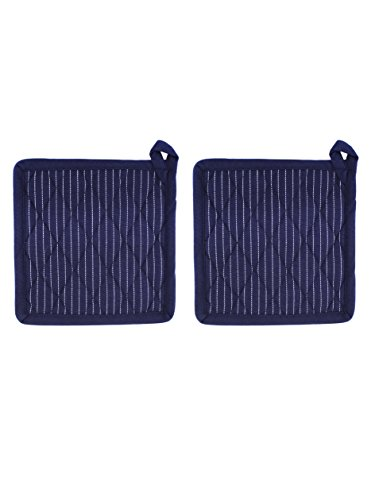 Set of 2 Potholders, Blue Pinstripe, 100% Cotton, 8 x 8, Heat Resistant, Eco Friendly and Safe, Suitable for All Household Ovens