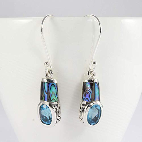 Abalone earrings with blue topaz stone, handmade 925 sterling dangle earrings with genuine 5 * 7 mm blue topaz stone, beautiful earrings with blue topaz stone and abalone shell Blue Topaz Shell Earrings