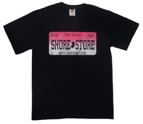 Shore Store Authentic Jersey Shore Merchandise License Plate Hot Pink T-Shirt 4XL Black 334 (Jersey Shore Store)