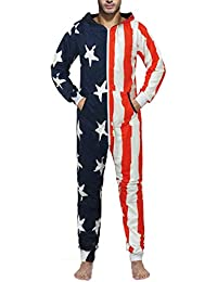 e0411731b9d URVIP Men s Playsuit One Piece Jumpsuit Hooded Homewear Loose Fashion  Pajamas