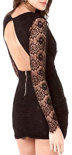 Women's Deep-V Neck Long Sleeve Backless Lace Mini Dress Black