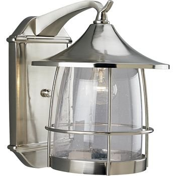 - Progress Lighting P5764-09 1-Light Wall Lantern with Wire Frames and Clear Seeded Glass, Brushed Nickel