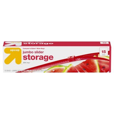 up&Up153; Jumbo (2.5gal) Slider Storage Bag 15ct (Compare to Ziploc174; Slider Bags) Clear