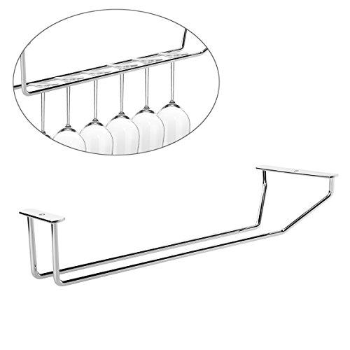 Pixnor Gläserhalter Glas Tasse Hangers Rack Halter mit Schrauben (Silber)