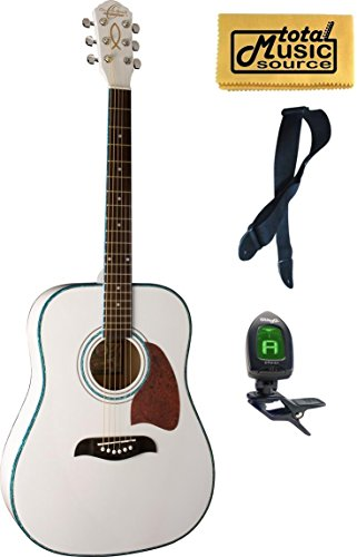 Oscar Schmidt Dreadnought White Spruce Top Acoustic Guitar FREE STRAP TUNER (Washburn White Guitar)