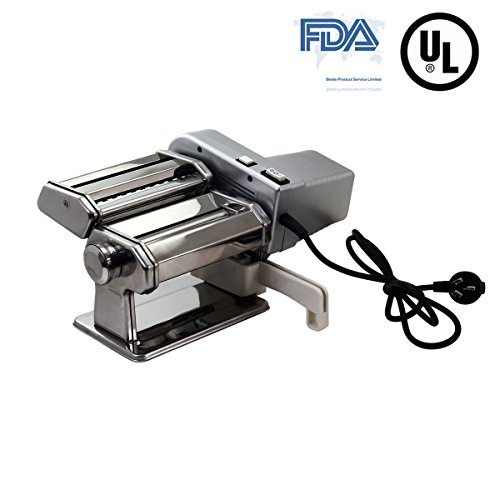 Yunko Electric Pasta Maker Machine with Motor Set Stainless Steel Pasta Roller Machine For Homemade Lasagne Fettuccine Tagliolini Dismountable Cutter Silver (Cutter Lasagna)