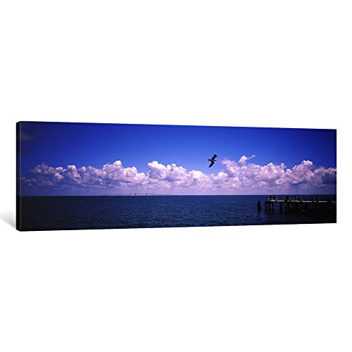 iCanvasART 1-Piece Pier Over The Sea, Fort De Soto Park, Tampa Bay, Gulf Of Mexico, St. Petersburg, Pinellas County, Florida, USA Canvas Print by Panoramic Images, 36 by 12