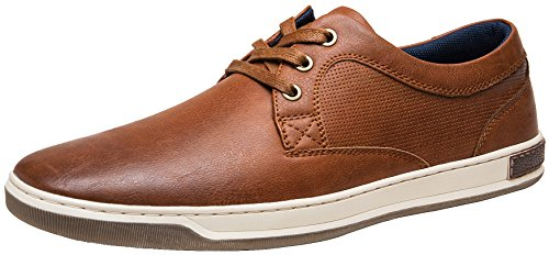 JOUSEN Men's Fashion Sneakers 3 Eyelets Simple Style Casual Shoes (8,Brown)