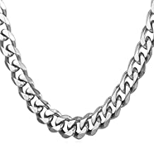 U7 New Fashion Men Jewelry Stainless Steel Base Curb Cuban Chain, 3MM-12MM Wide, 18-30 Inch Men Chain