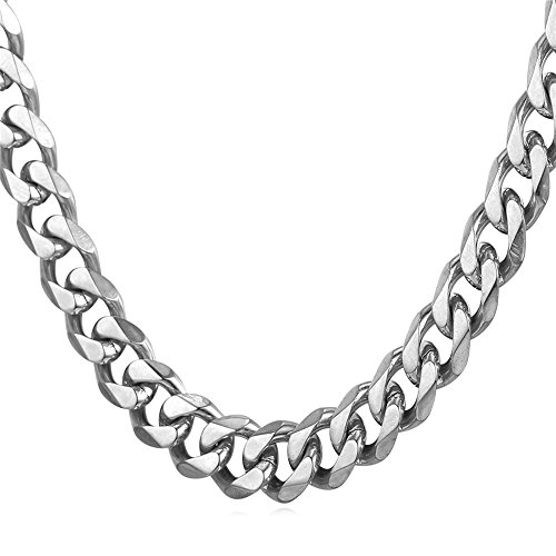 Men's Stainless Steel 9mm Curb Link Cuban Chain Necklace,18""