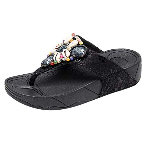 (Women Flat Sandals, BOLUBILUY Ladies Bohemian Clip Toe Ankle Strap T-Shape Sandals Rhinestone Outdoor Casual Flip Flop)