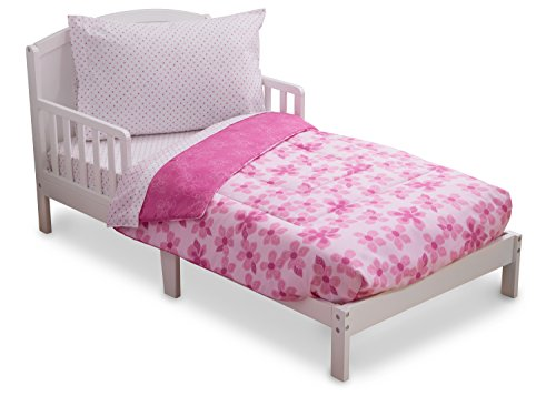 Delta Children Reversible Girls Toddler 4 Piece Bedding Set (Fitted Sheet, Flat Top Sheet w/ Elastic bottom, Fitted Comforter w/ Elastic bottom, Standard Pillowcase) Girls Floral and Pink | Polka Dot (Dot Polka Floral)