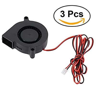 UKCOCO 3 PCS 5015 DC 24V 0.18A Fan for 3D Printer,Turbine Blower Radiator Fan,Excellent for Cooling Heat Sink on Hot End, 3D Printer Accessory,Black