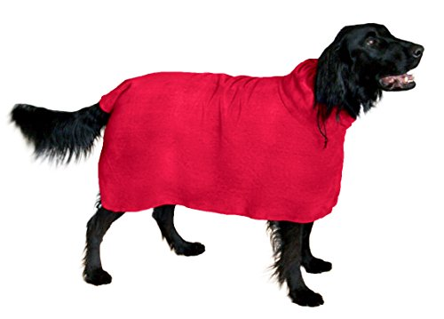 Dog Coat Plush (The Snuggly Dog Easy Wear Dog Towel. Luxuriously Soft, Fast Drying 400gsm Microfiber. Soft Belt included for a Warm Plush Dog Robe Large Red)