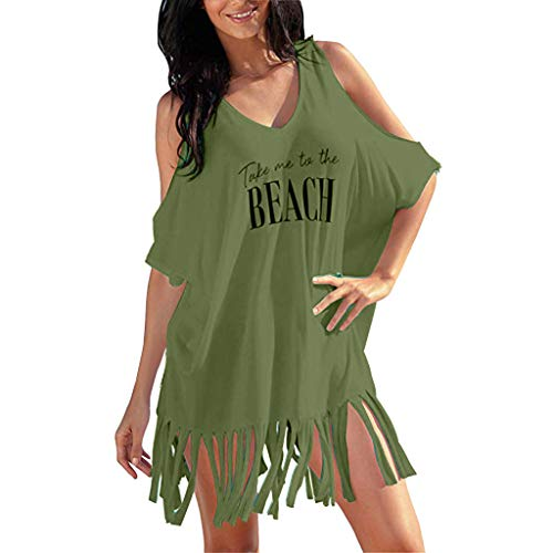 WOCACHI Womens Tassel Letters Print Baggy Swimwear Bikini Cover-Ups Beach Dresses Smock Shoulder Hollow Out Sundress Under 10 Dollars Summer Deals Green