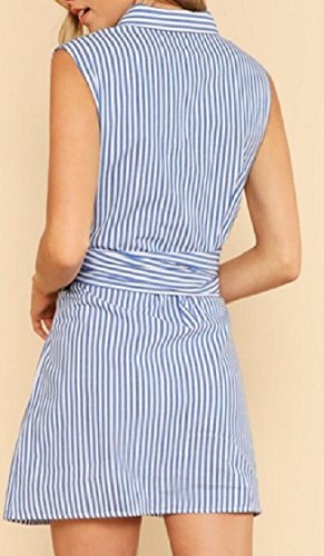 Sleeveless Stripes As Coolred Tie Picture Shirtdresses Lapel Waist Buttoned Women w8qEE4