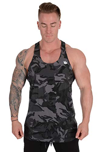 YoungLA Stringer Tank Tops for Men with Raw Edges Cut with Scissors for Trends 318 Camo Black XXLarge
