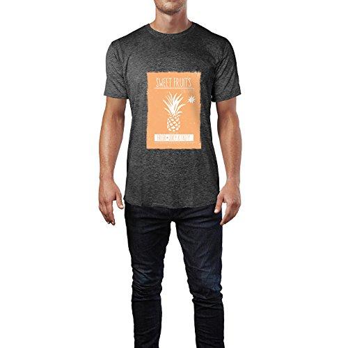 SINUS ART® Ananas Print mit orangem Hintergrund Herren T-Shirts in dunkelgrau Fun Shirt mit tollen Aufdruck