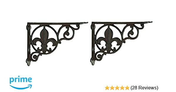 4 MEDIUM BROWN ANTIQUE STYLE 6.5 SHELF BRACKETS CAST IRON rustic garden SCROLL Antiques