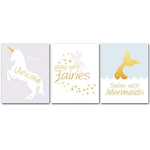 Unframed, Adorable Fairy Tale Unicorn Fairies Mermaid Watercolor Art Print Cartoon Artwork Canvas Art Print,Set of 3 Art Poster(8