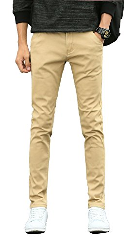 Plaid&Plain Men's Skinny Stretchy Khaki Pants Colored Pants Slim Fit Slacks Tapered Trousers 819 Khaki 38X34