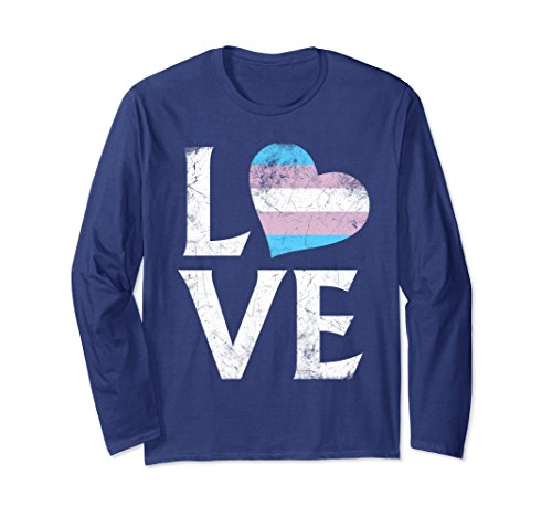 (Unisex Transgender Pride Heart Stacked Love Long Sleeve T-Shirt Large Navy)