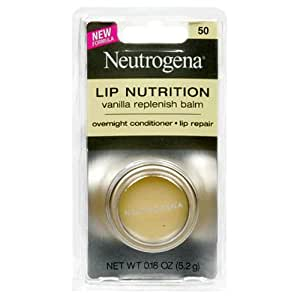 Neutrogena Lip Nutrition Replenish Balm, Vanilla 50, 0.18 Ounce (5.2 g) (Pack of 2)
