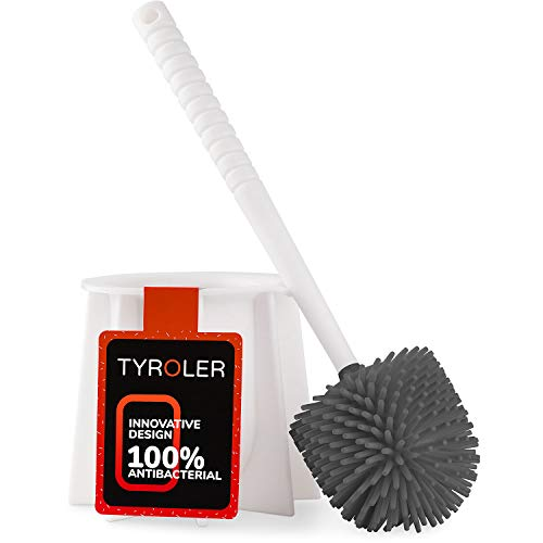 Mop Bowl Toilet (Tyroler Bright Tools Toilet Brush Set Made of 100% Silicone & Antibacterial, This Toilet Bowl Brush and Holder Designed to Fits All Toilets & Bathrooms, White)