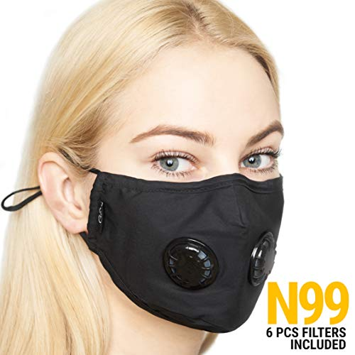 - Anti Pollution Dust Mask with 2 Valves and 6 Filters N99 Protection | Anti Smoke Mask, Exhaust Gas, Dust Proof, Particulate Respirator, Pollen, Fumes mask | Washable for Indoor and Outdoor Activities