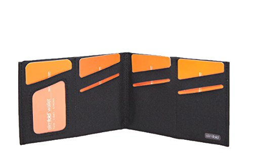 SlimFold Minimalist RFID Wallet - Thin, Durable, and Waterproof Guaranteed - Made in USA - Original Size Black with Black Stitching