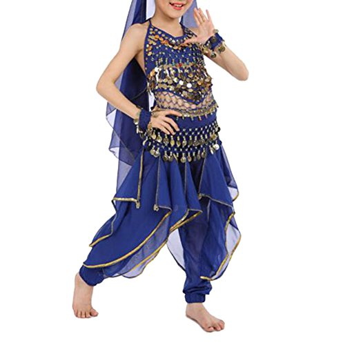 TopTie Kid's Belly Dance Costume Set, Halter Top, Harem Pants, Hip Scarf-Navy (Belly Dancers Costumes Halloween)