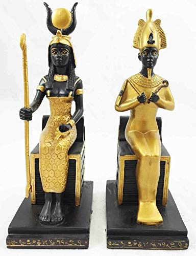 (ShopForAllYou Figurines and Statues Egyptian King Queen Goddess Isis & God Osiris Sitting On Throne Figurine Set)