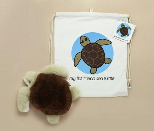 Flat Friends STURLD Sea Turtle Lambskin Soft Toy & Drawstring - Drawstring Lambskin