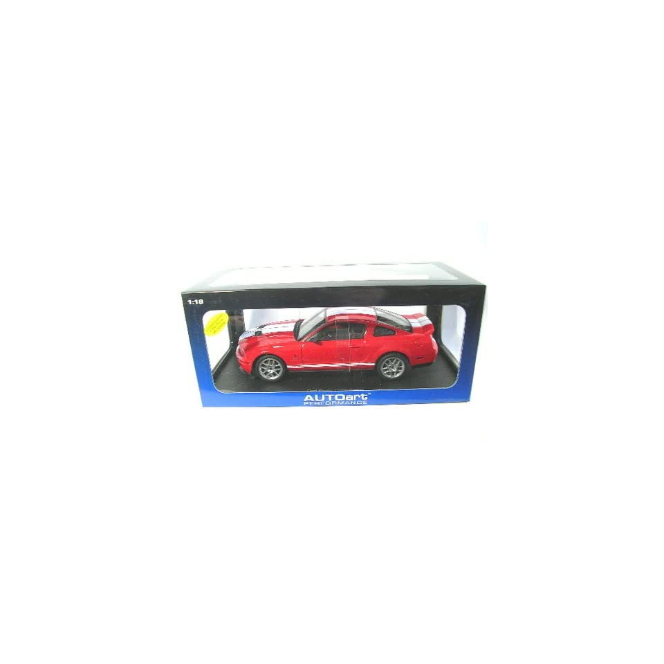 Ford Shelby Cobra GT 500 Mustang Red / White Stripe 118 scale diecast car by autoart