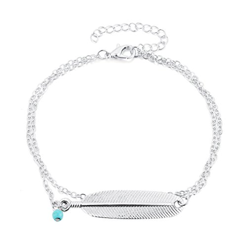 Meiyuan Women Retro Turquoise Bead Feather Leaf Pendant Anklet Bracelet Barefoot Ankle Chain Turquoise Ankle Bracelet Anklet