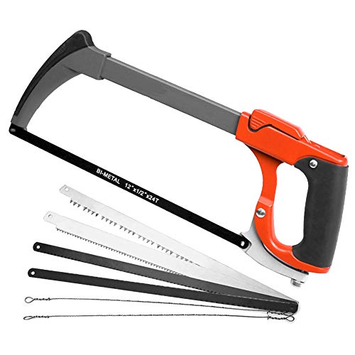 AIRAJ 12 in Hacksaw Frame Adjusts Tension, Two Sawing Angles (45°/90°) Saws, One-key Replacement of 7 Reciprocating Saw Blades for Hacksaw Sets