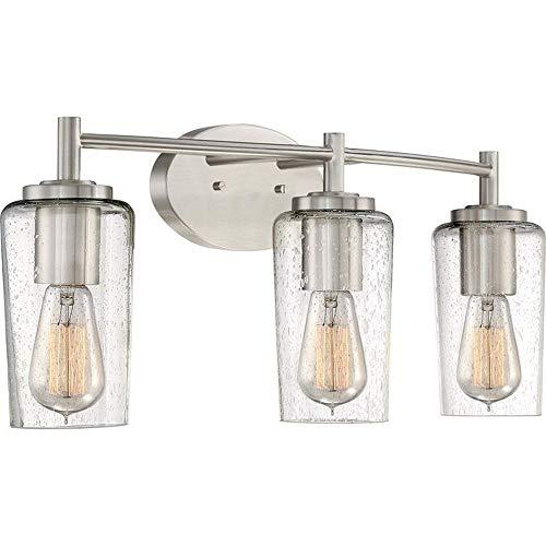 (Quoizel EDS8603BN Edison Farmhouse Vanity Bath Lighting, 3-Light, 180 Watts, Brushed Nickel (10