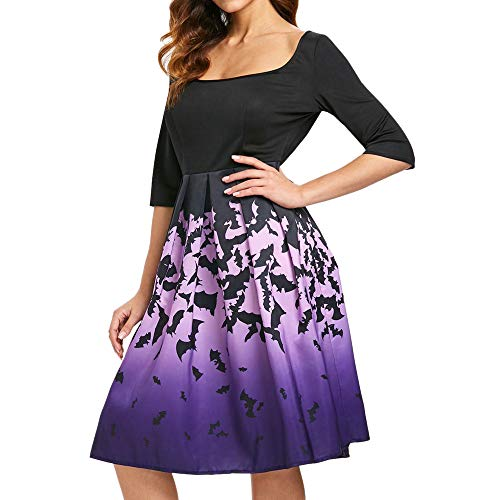 iDWZA Women Lady Halloween Draped Hollow Out Black Bats Print Midi Skirts Dress(XL,Purple) -
