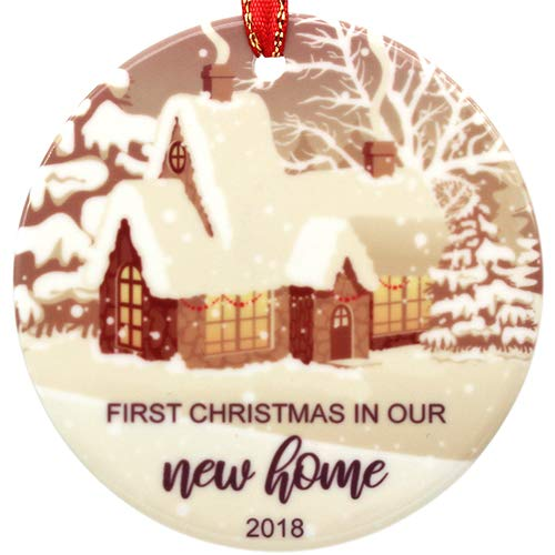 Creawoo First Christmas in Our New Home Ornament 2018, Housewarming Gift Xmas Tree Decoration, Unique Christmas Ceramic Ornament