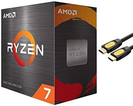 AMD-Ryzen 7 5800X 4th Gen 8-core Desktop Processor Without Cooler, 16-Threads Unlocked, 3.8 GHz Up to 4.7 GHz, Socket AM4, Zen 3 Core Architecture, StoreMI Technology w/Mytrix HDMI Cable