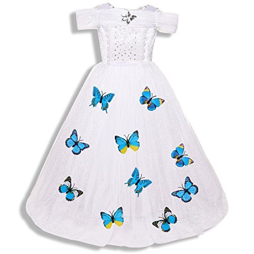 AkiWoo Girls New Princess Fancy Dress Up Costume Party Cosplay Outfit Butterfly Layered Skirt (White/Sleeveless, L/7-8) (Unique Family Costumes)