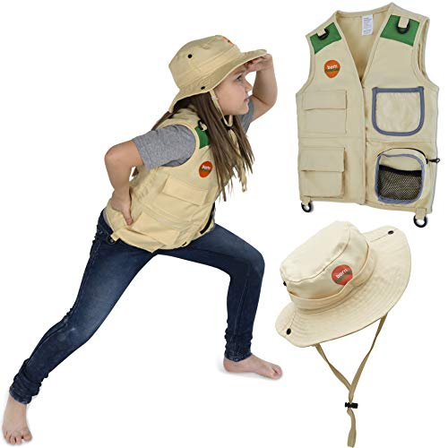 Born Toys Explorer and Safari Costume Vest and Hat Set for Kid Explorer and Outdoor Dress up and Role Play-Great for Park Ranger, Paleontologist, Zoo Keeper Costume, Kids Fishing and Adventure Kids