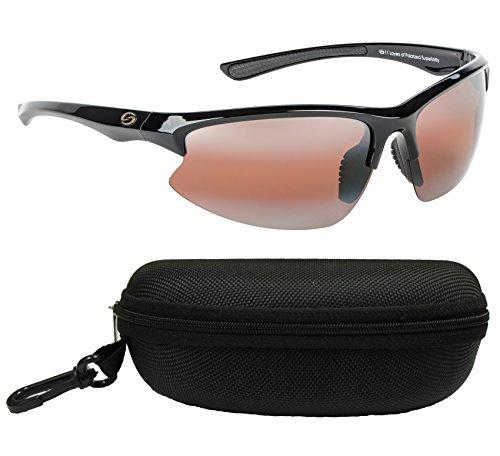 Strike King SG-S1163-CS S11 Optics Polarized SG Eufaula Bundle, Shiny Black Frame with DAB/Amber Lens and Adjustable Nose Pad, with Black - Adjustable Pads Nose