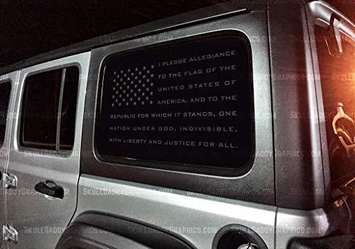 Skull Daddy Graphics JL JK JKU Window USA Pledge Flag Decals Stickers to fit Jeep Wrangler 2011-2019 (Matte Black - Both Sides)
