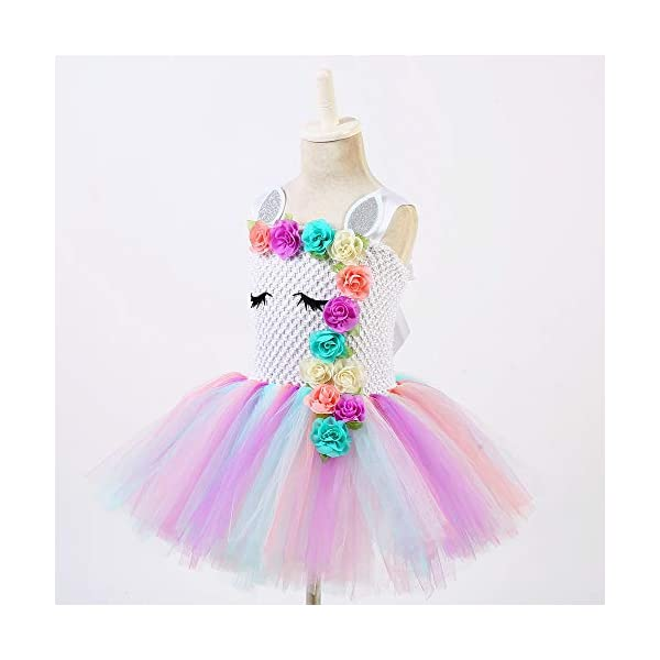 Unicorn Costume for Girls Dress Up Clothes for Little Girls Rainbow Unicorn Tutu with Headband Birthday Gift 7