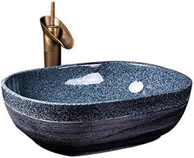 カウンター盆地洗面オーバルセラミック盆地アメリカの洗面アートヨーロッパの盆地上記 P3/23 (Size : B)