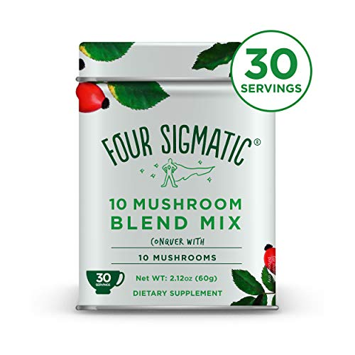 Four Sigmatic 10 Mushroom Blend - Lions Mane, Reishi, Chaga, Cordyceps, Enoki, Maitake, Shiitake, Tremella, Meshima, Agaricus Blazei - Dual-Extract Superfood Mushroom Powder - 60g - 30 servings (Little Colds Honey Elixir)