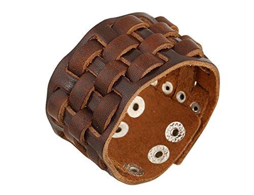 Konalla Wide Braided Brown Leather Men's Bracelet Punk Adjustable Wristband, 9